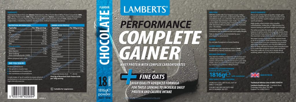 Complete Gainer Chocalate  - Product Label