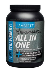 ALL IN ONE: Proteins and carbohidrates Strawberry flavour Lamberts