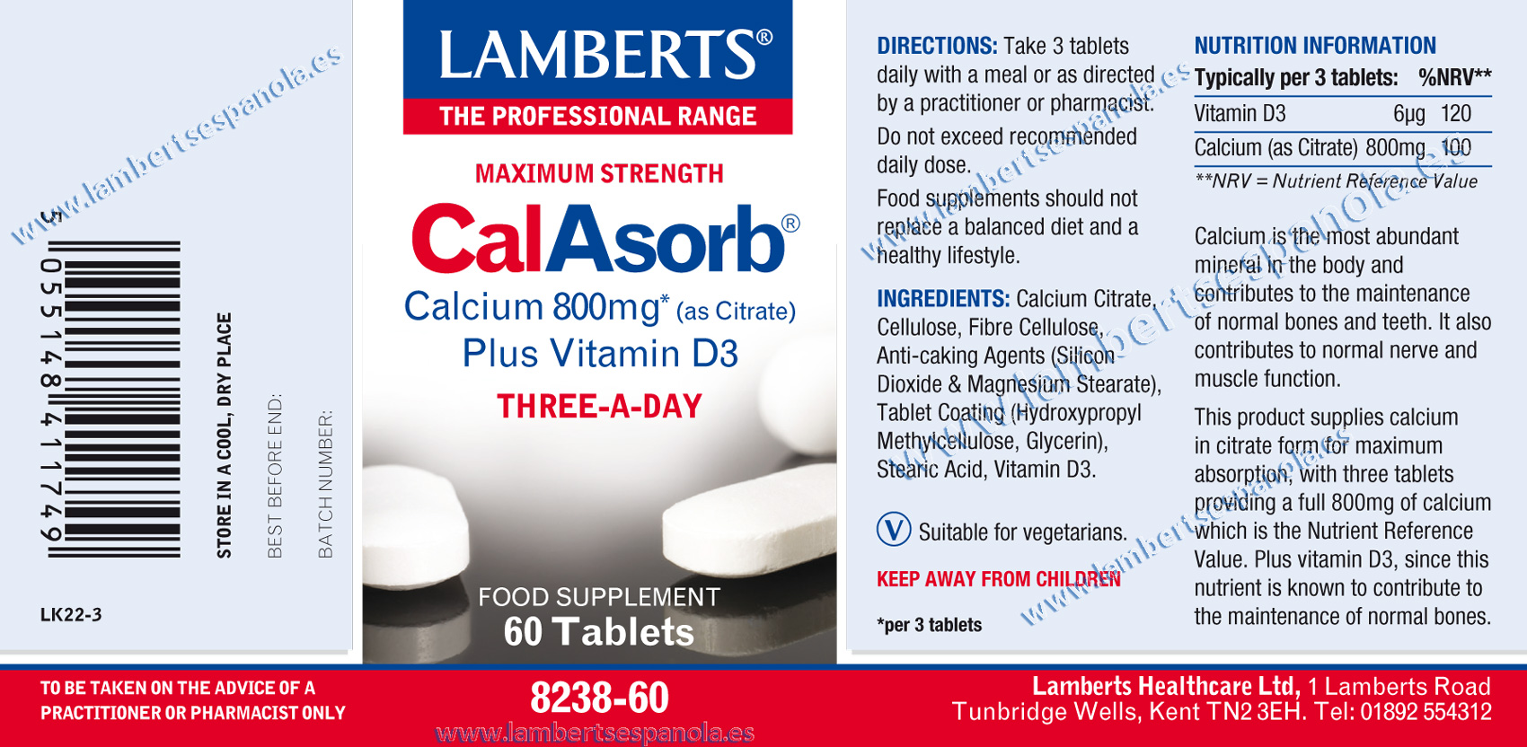 Lamberts Calasorb properties label