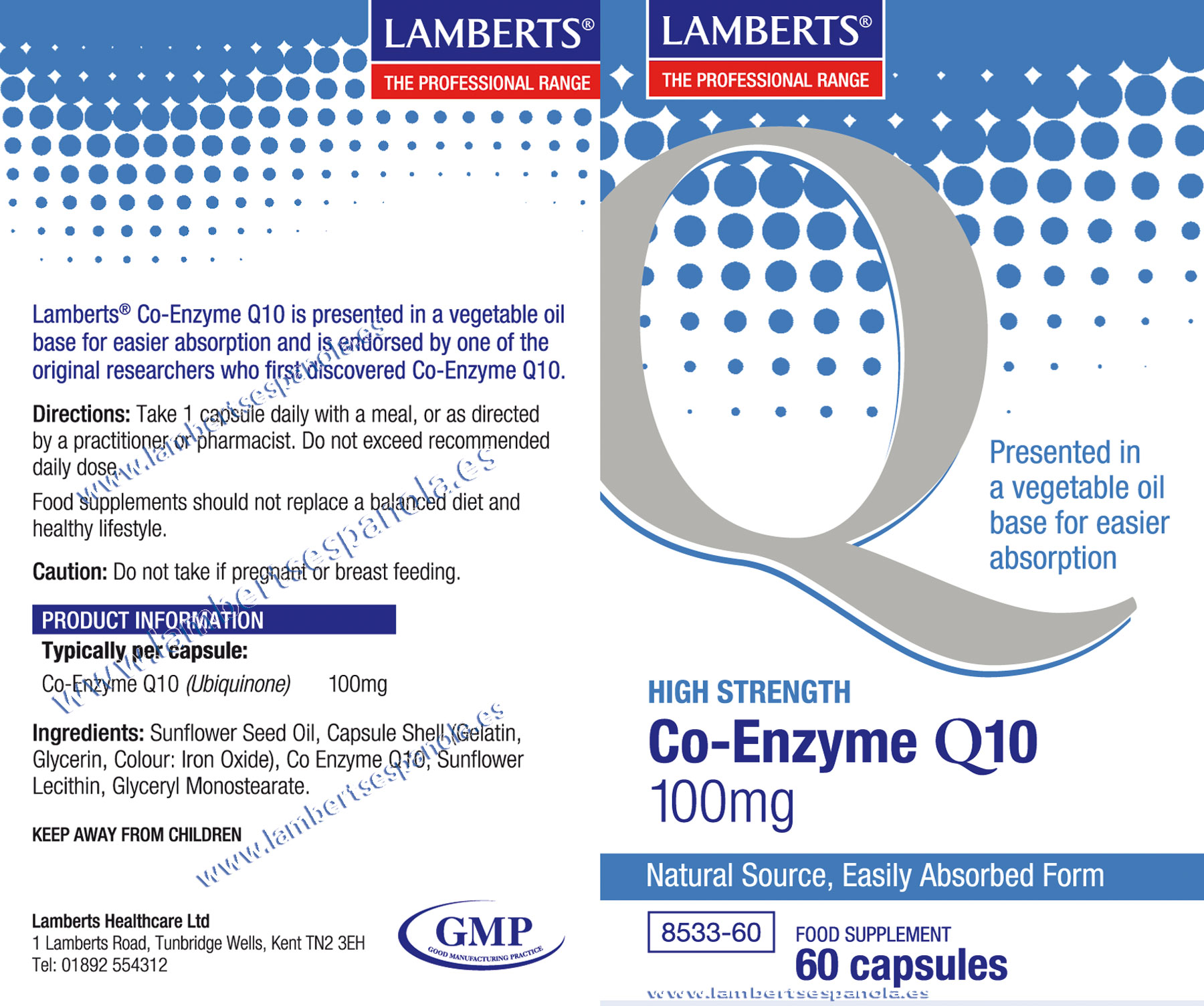 Lamberts Co Enzima Q10 100 mg properties