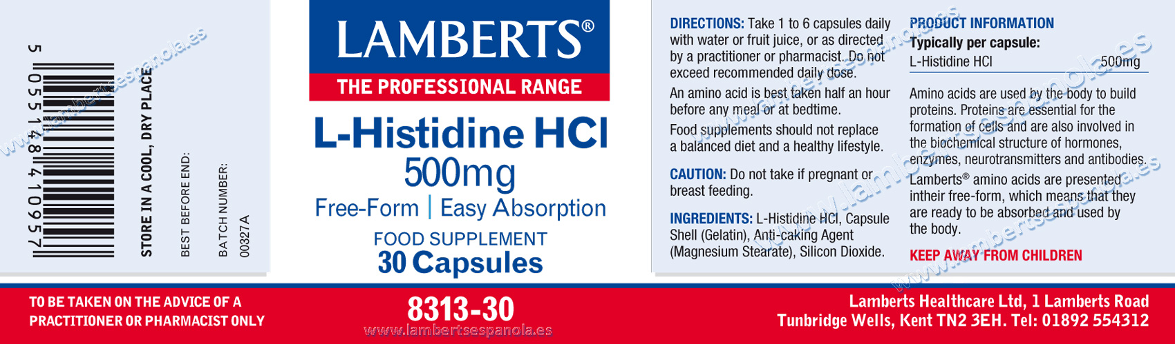Histidine HCL properties and composition. Lamberts