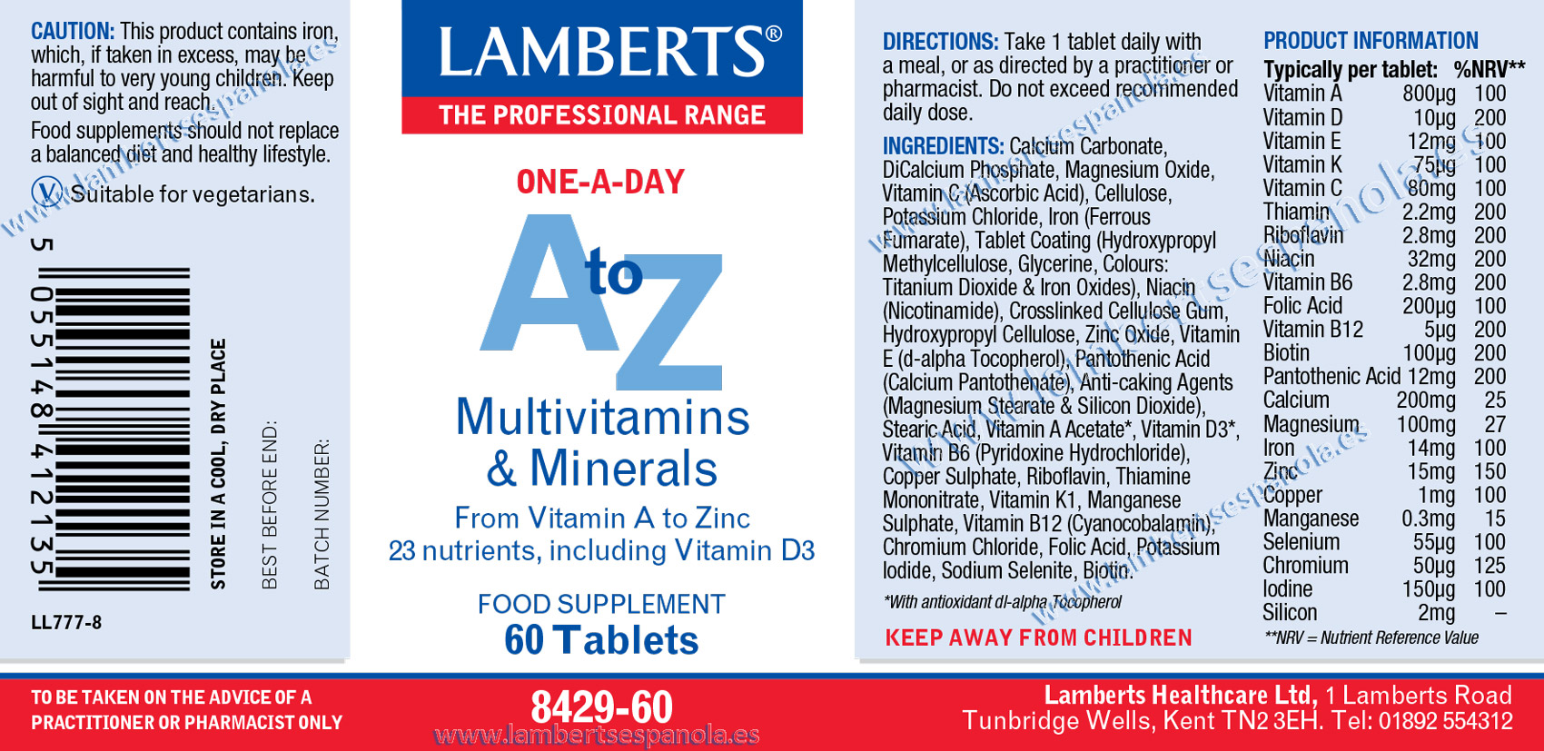 Lamberts A-Z multivitamin and minerals label properties