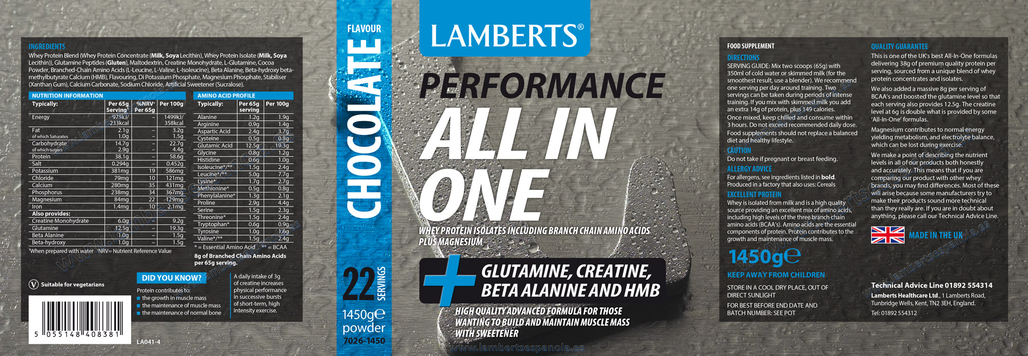 All in one chocolate flavour Lamberts properties