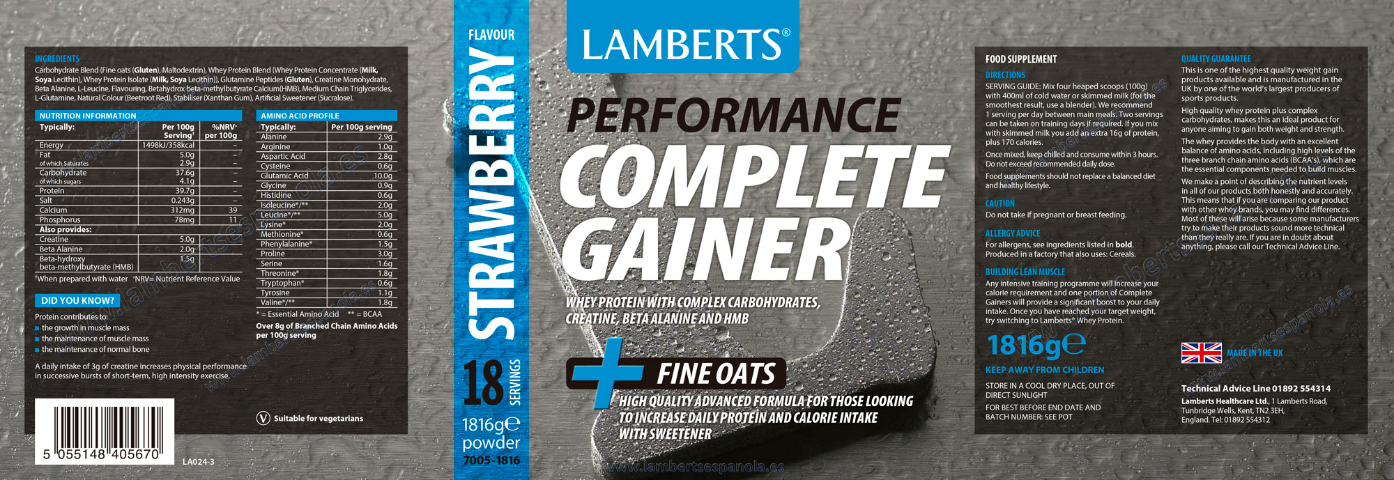 Lamberts Complete Gainer Strawerry Flavour- Product Label