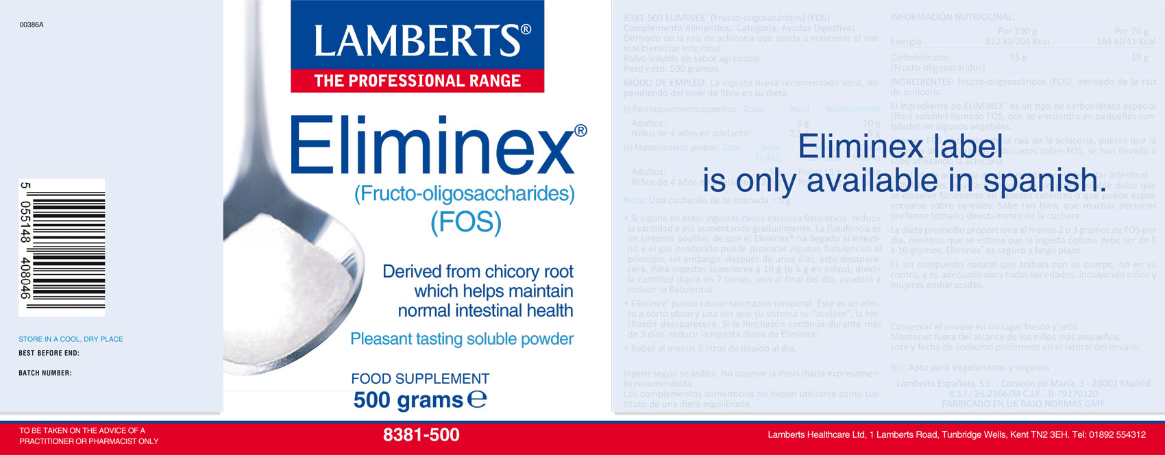 Lamberts Eliminex label only available in spanish