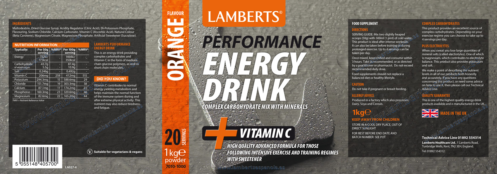 Lamberts Energy drink properties