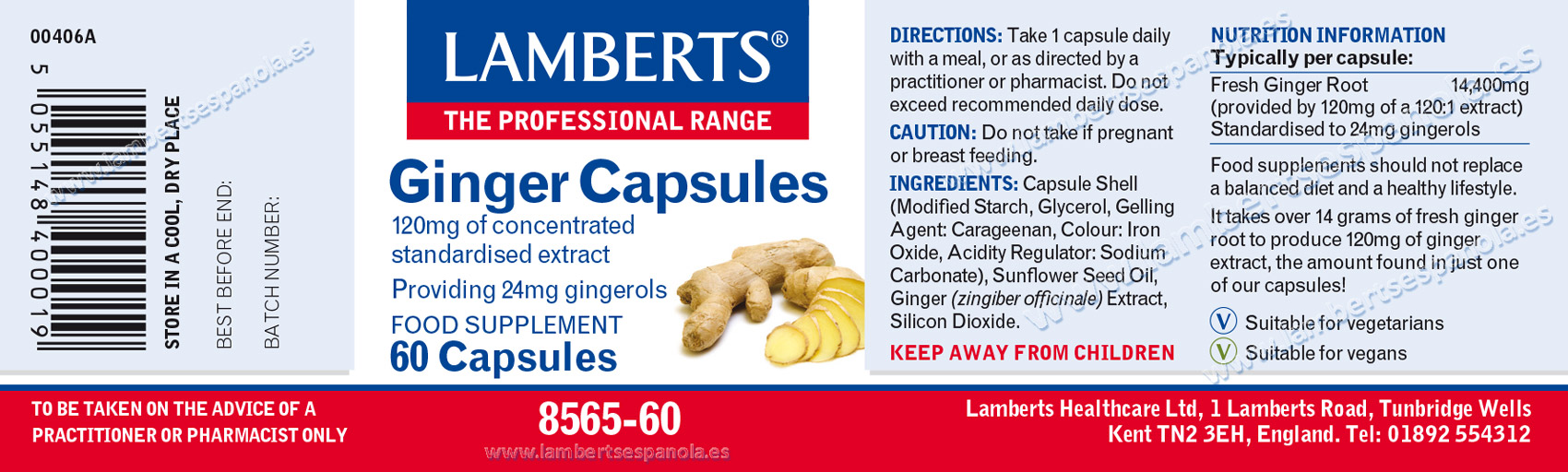 Lamberts Ginger label with indications