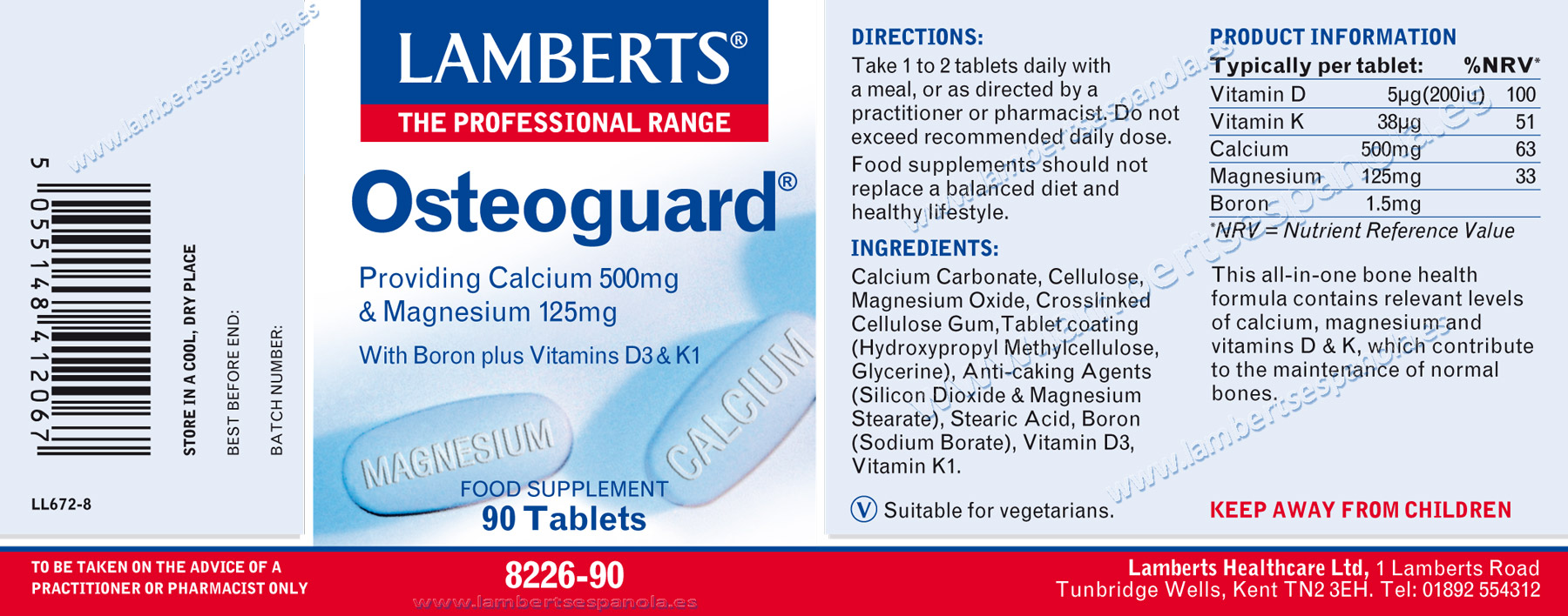 [:es]Lamberts Osteoguard® label, calcium, magnesium, Vitamins D3 And K1 90 tabs with its properties and indicantions. [:]