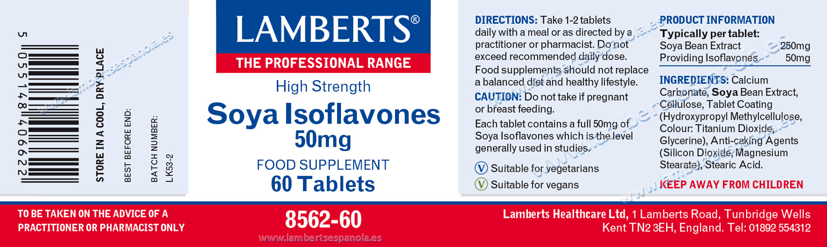 Lamberts Soy ISoflavones label with its indications and properties