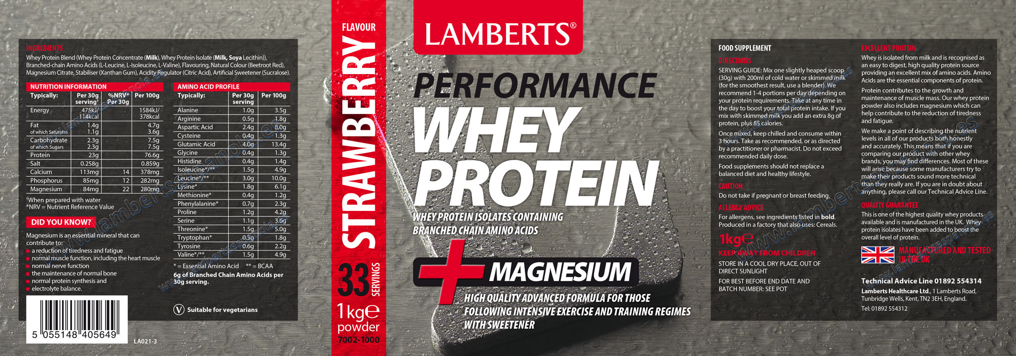 Lamberts Whey Protein strawerry-Product Label