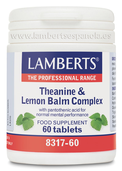 Theanine & Lemon Balm: Complex with L-Theanine, Lemon balm, Folic Acid, Panthotenic acid and Biotine. Lamberts[:]