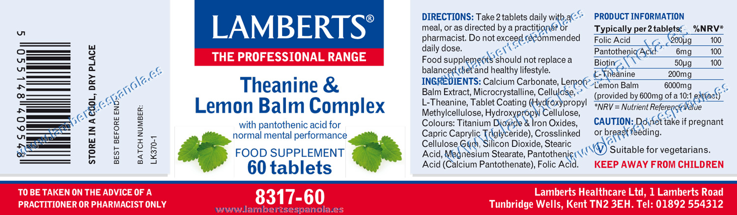 Teanine and Lemon balm properties. Lamberts