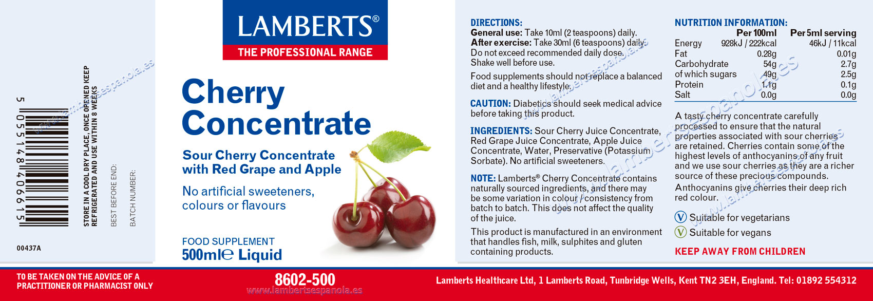 Cherry Concentrate properties. Lamberts