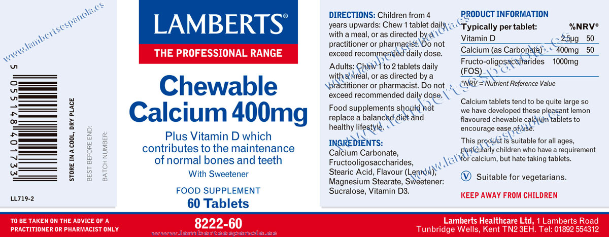 Chewable Calcium properties. Lamberts