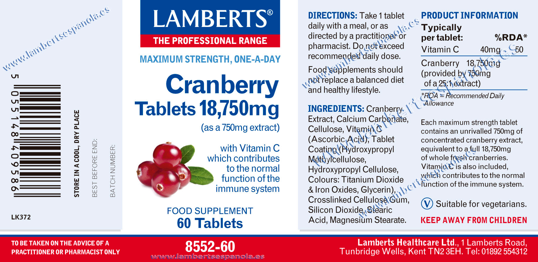 Red Cramberry complex properties. Lamberts