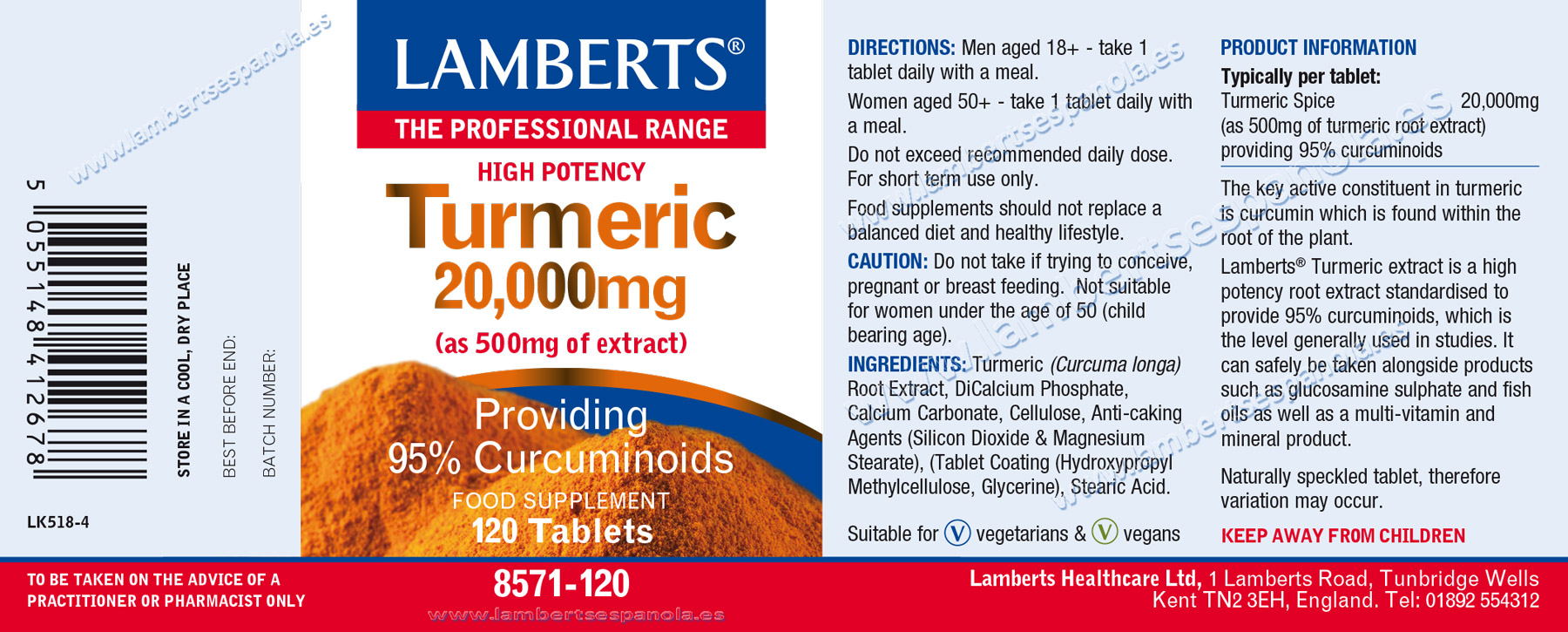Turmeric 20.000 mg label properties