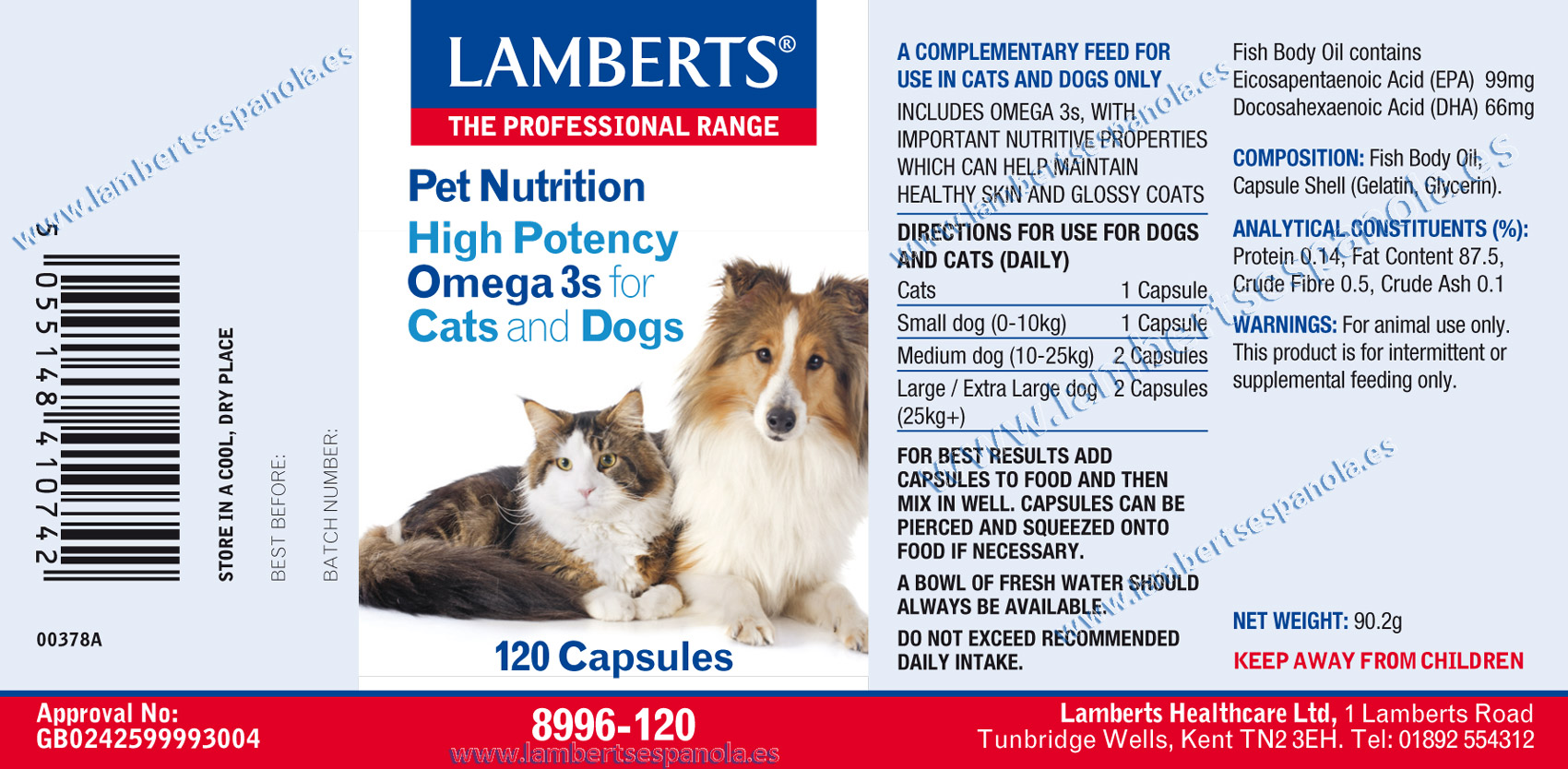 Omega 3 for dogs and cats properties. Lamberts