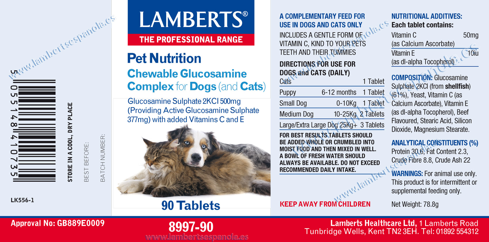 Glucosamine complex for dogs and cats properties