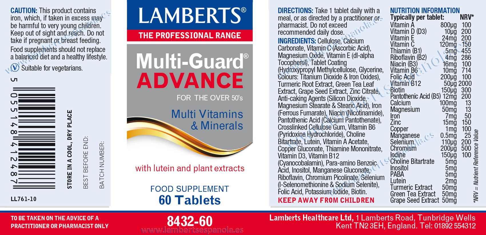 label of Multi-Guard® Advance by Lamberts with its properties and indications
