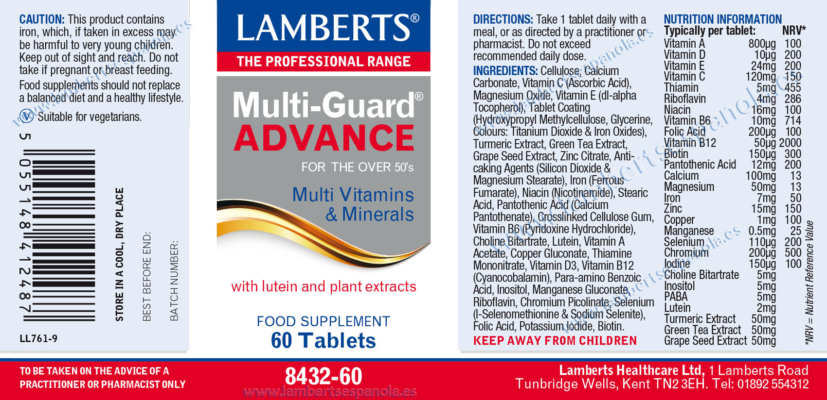 label of Multi-Guard Advance by Lamberts with its properties and indications