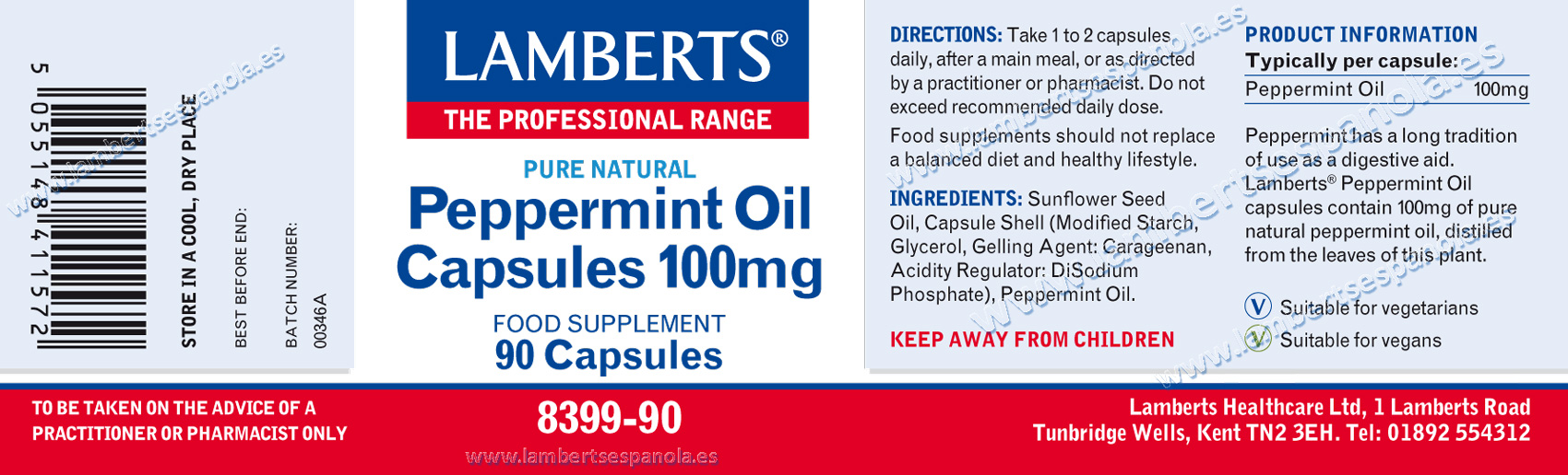 Peppermint oil 100 mg. Lamberts