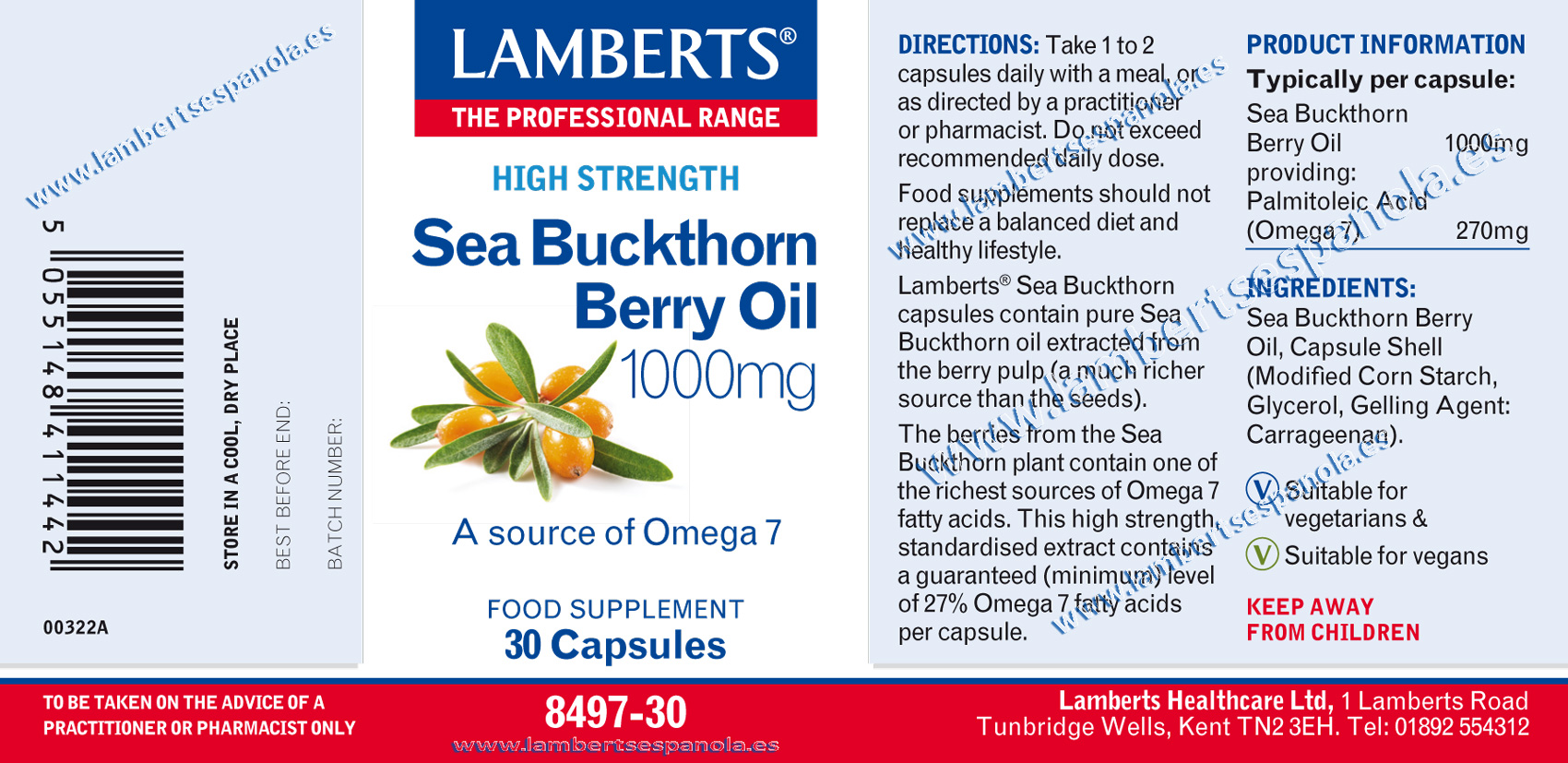 Sea Buckthorn oil properties. Lamberts