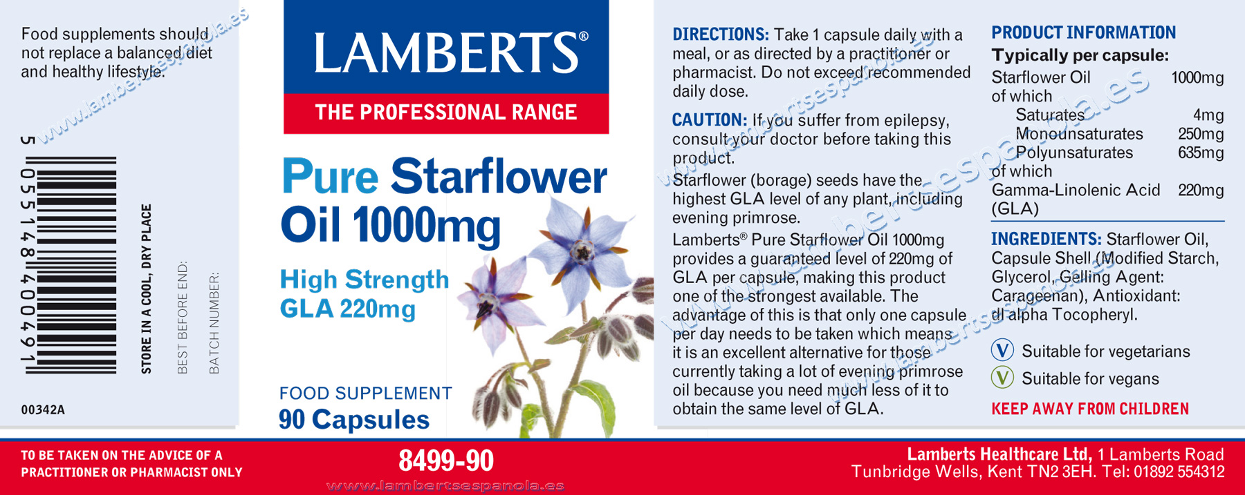 Starflower Oil properties. Lamberts