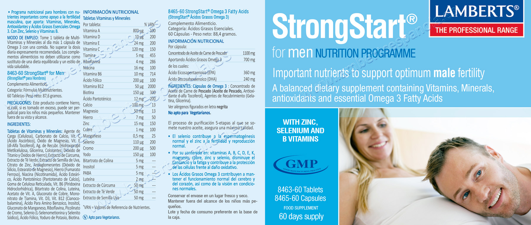 Label of StrongStart® for Men Lamberts Vitamins for Men with their properties and indications