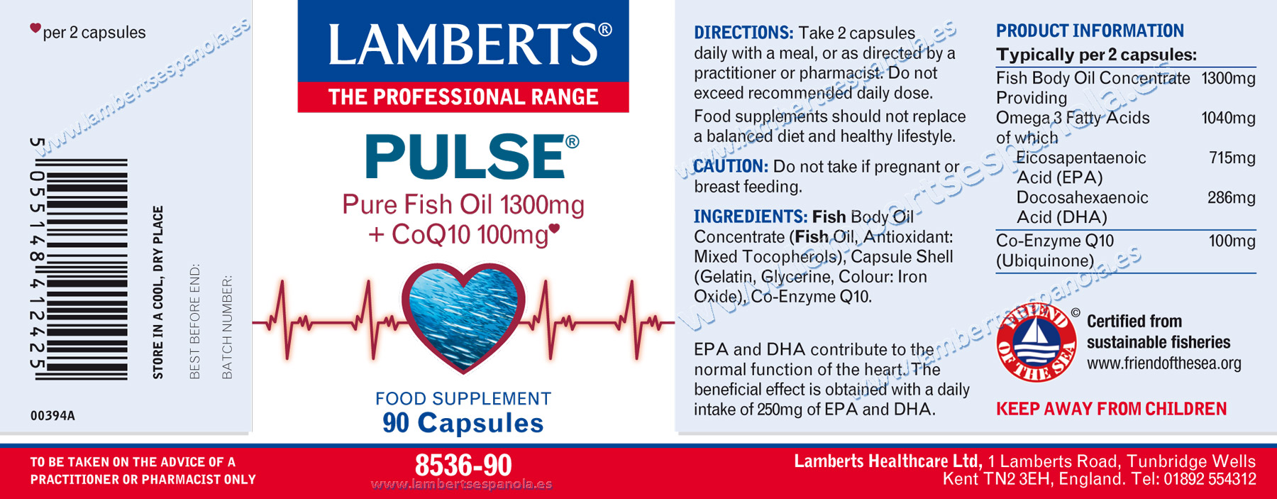 Label of Pulse® from Lamberts with its properties and indications