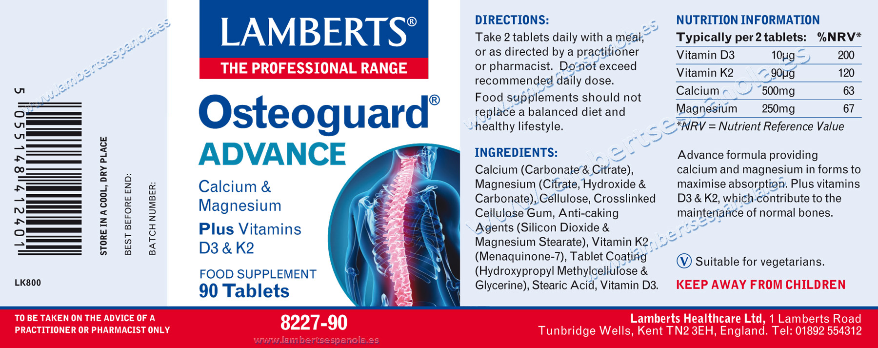 Label of Lamberts Osteoguard Advance with its properties and indications