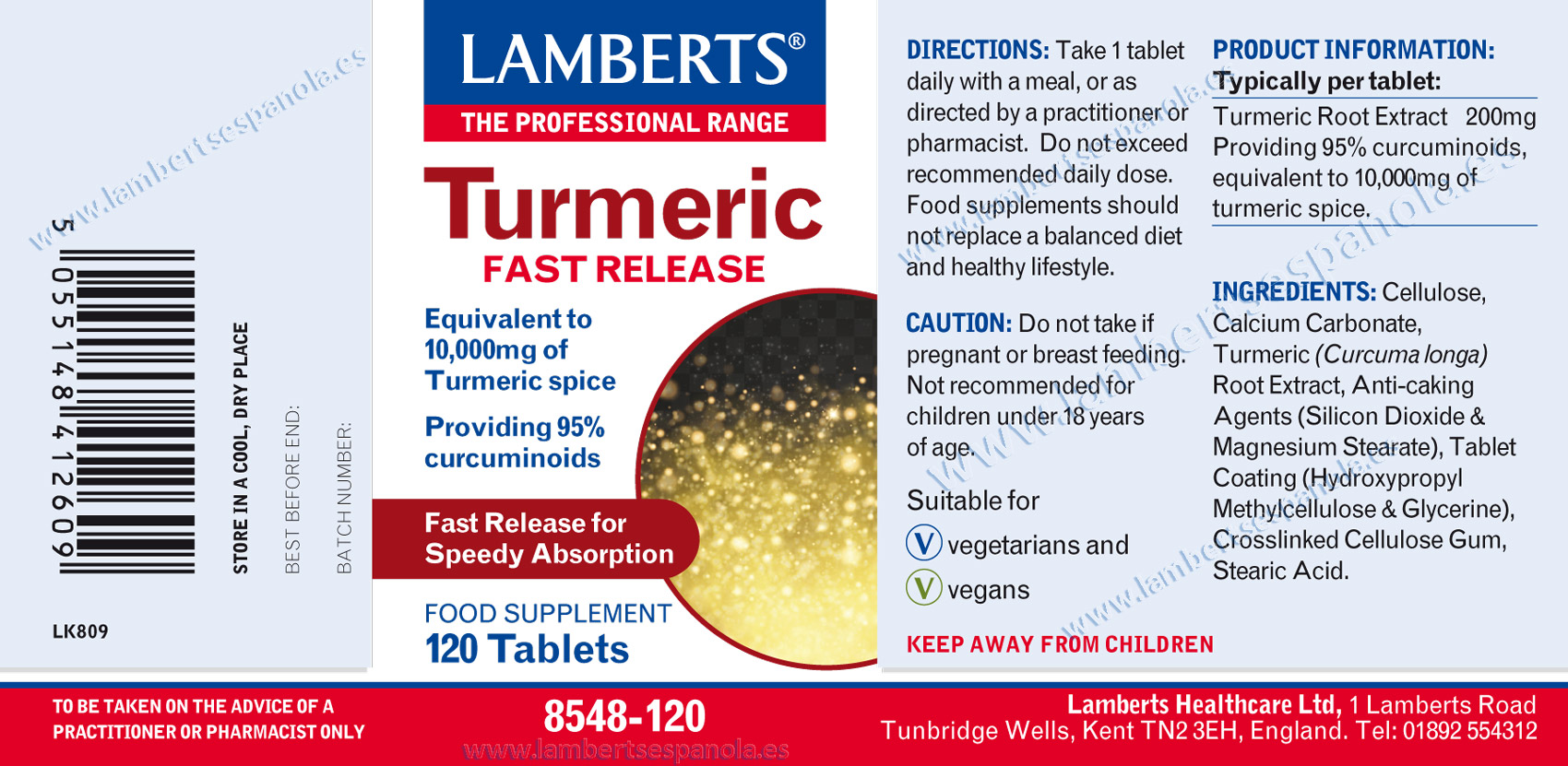 Label of Turmeric fast realease by Lamberts with properties and indications. 120 tabs presentation.