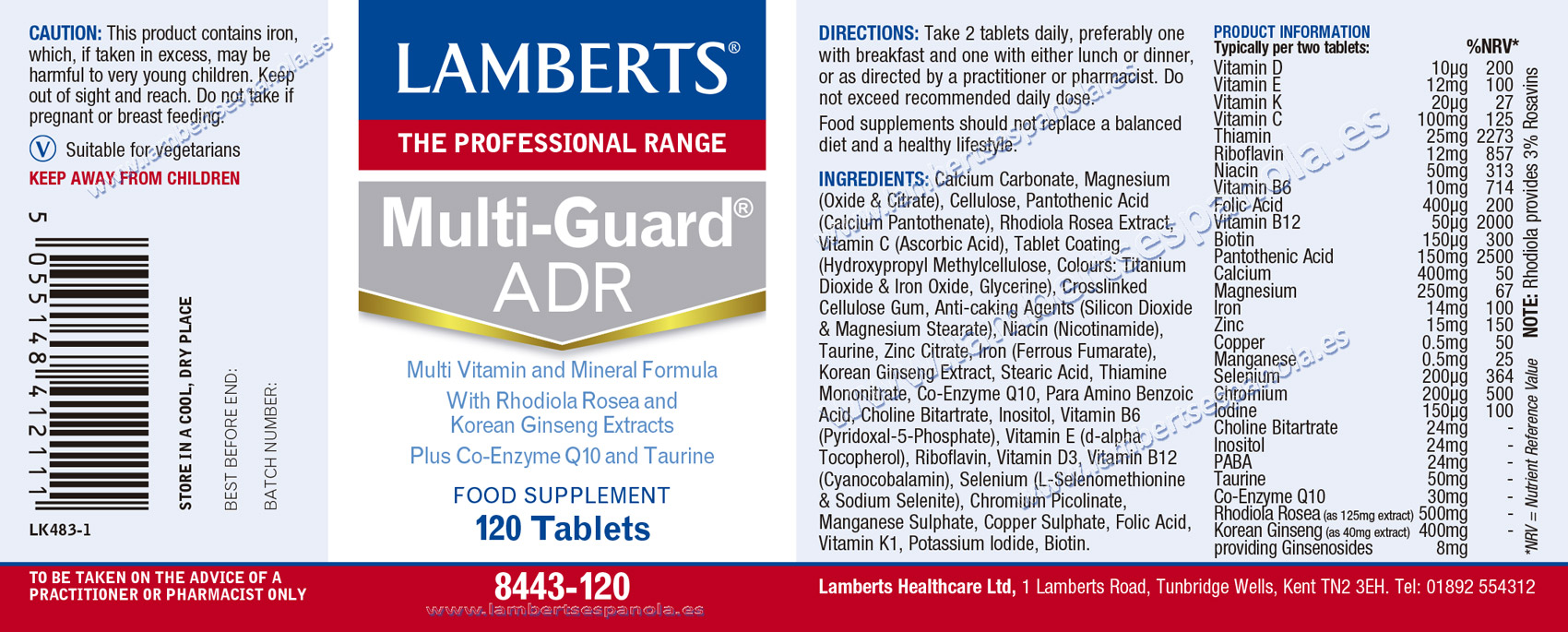 label of Multi-Guard®Advance by Lamberts with its properties and indications. 120 tabs