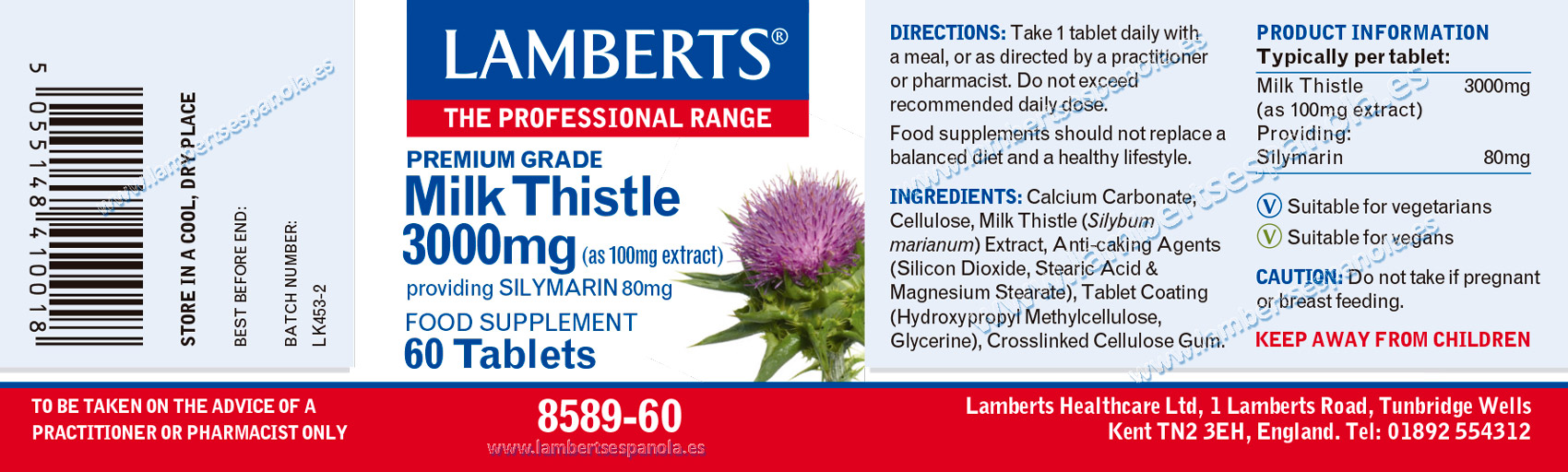 Milk Thistle 3.000mb by Lamberts label with properties and indicatinos