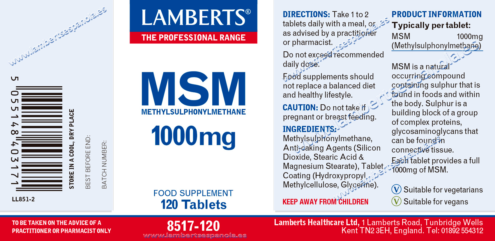 MSM 1000 mg Lamberts label with its properties and indications