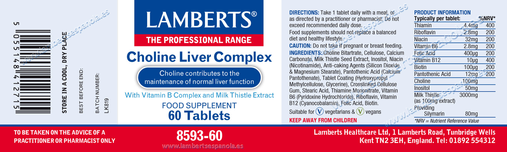 lamberts Choline LIver Complex label with it properties