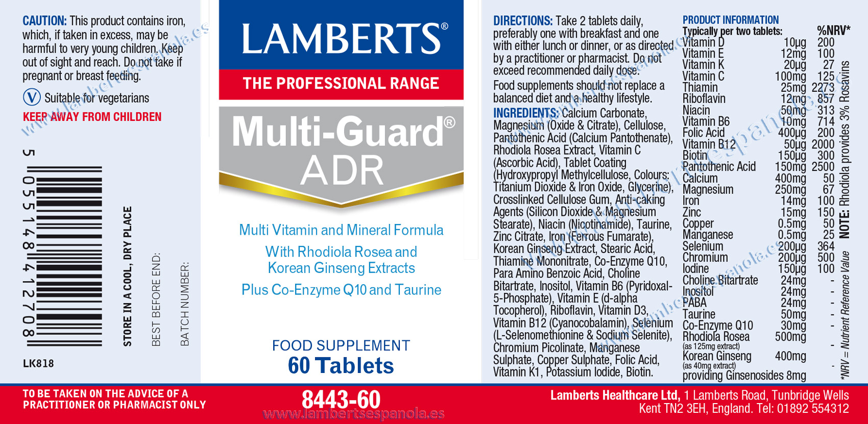 label of Multi-Guard®Advance by Lamberts with its properties and indications