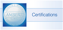 Lamberts Products certifications