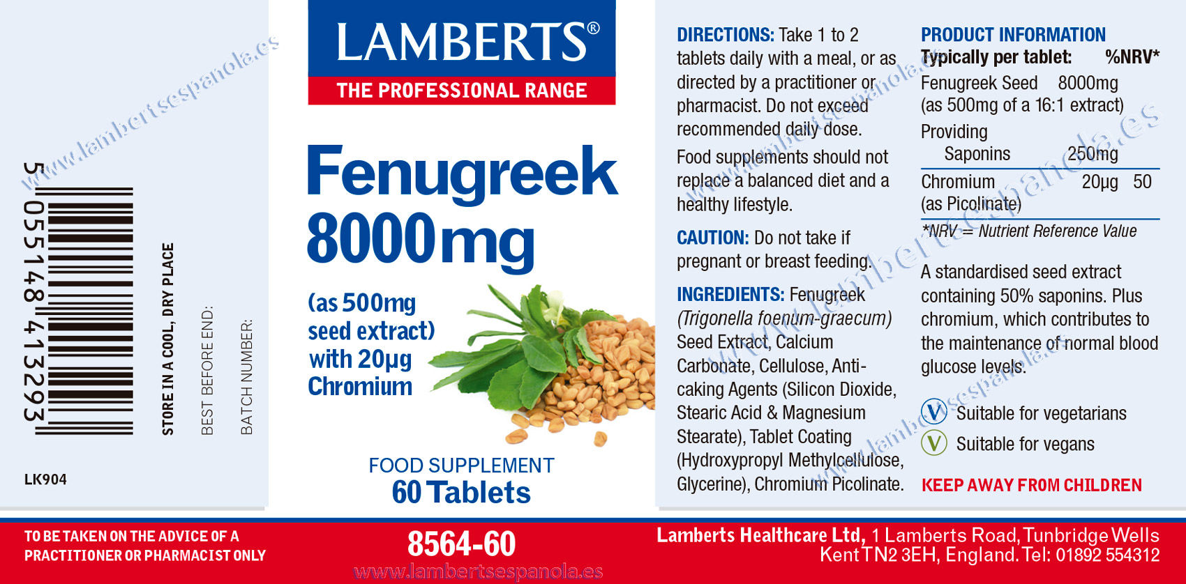 Lamberts Fenugreek 8.000mg label with indications and properties