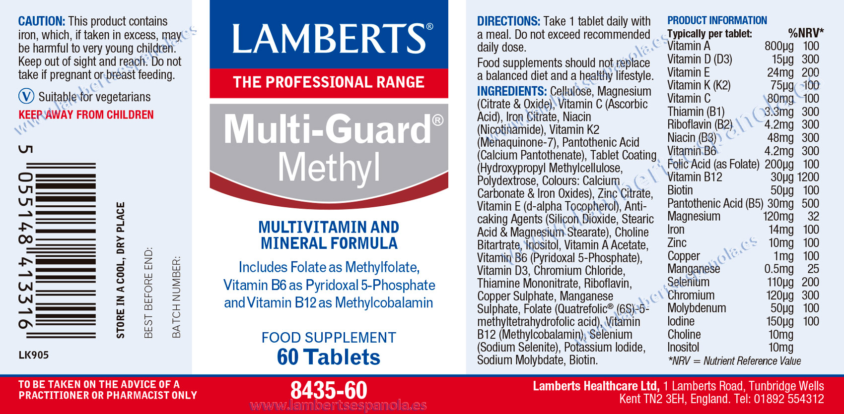 Lamberts Multi Guard Methyl label with propeties and indications